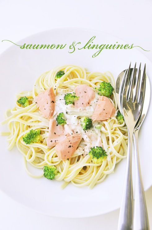 Linguines au saumon brocolis