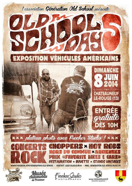 Affiche OLD SCHOOL DAYS 8 Juin 2014 a CHATEAUNEUF le ROUGE