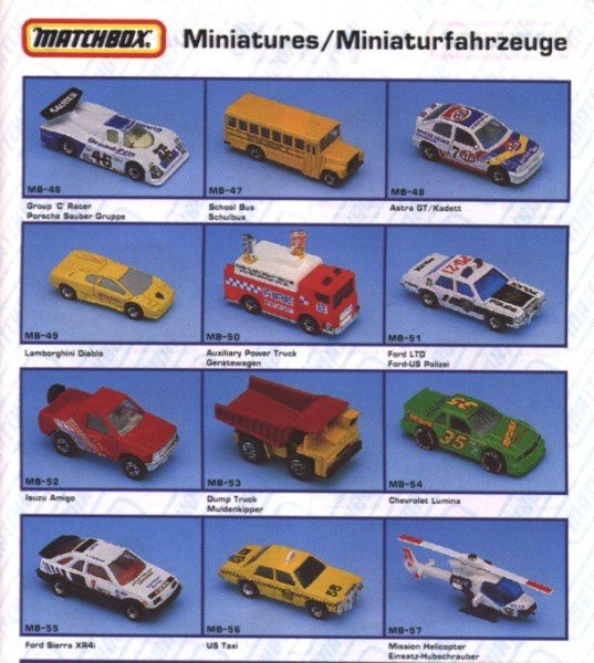 catalogue matchbox annee 1992 s05