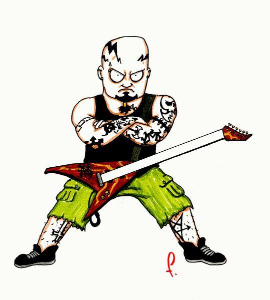 guitariste chauve tatoué
