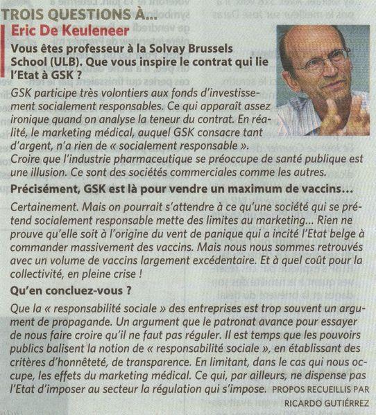 Trois questions à Eric de Keuleneer (Le Soir 8 et 9 mai 20