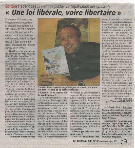 livre sur les syndicats journal d'Elbeuf 3 juin 2011