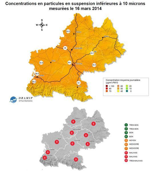 ORAMIP - Pollution particules - Midi-Pyrénées - 16-03-201