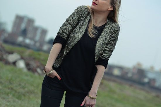 veste sequins dore