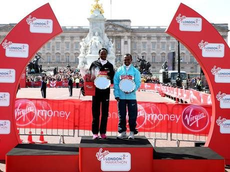 Virgin London Marathon 2013. Tsegaye Kebede and Priscah Jeptoo triumph in the London Marathon while Mo Farah runs just under half of the race watched by huge crowds