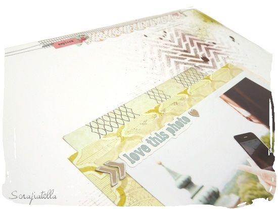 page scrapbooking pochoir chevron