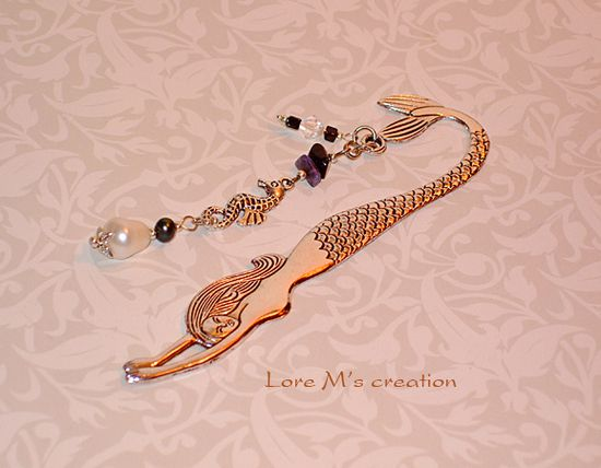 marque pages, de collection, sirène, mermaid bookmark, Lore M