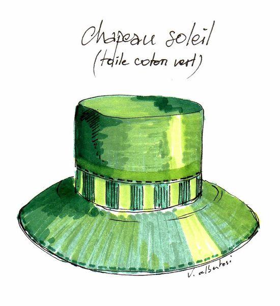 chapeau de soleil vert valérie Albertosi