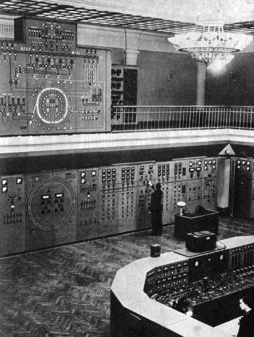 Control room of the Synchrophasotron 1975