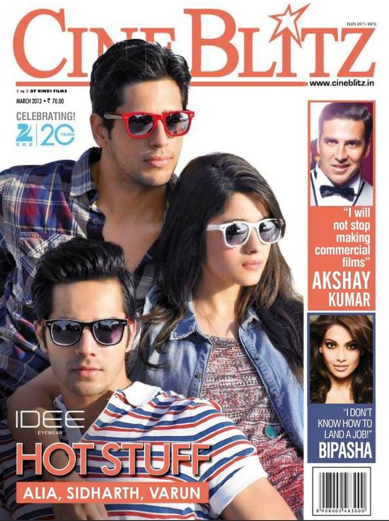 Alia bhatt, varun Dhawan, Siddharth Malhotra on cover of Ci