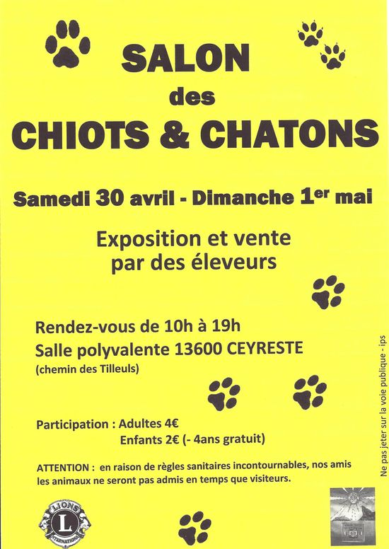 Lions club la ciotat lumieres salon chiots chatons la for Salon des chiots