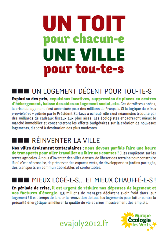 Tract Presidentielle 2012 Logement Version 1 page 1