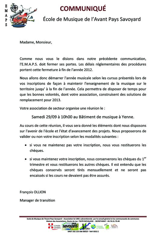 Courrier d'information aux parents sept 12 reprise activite