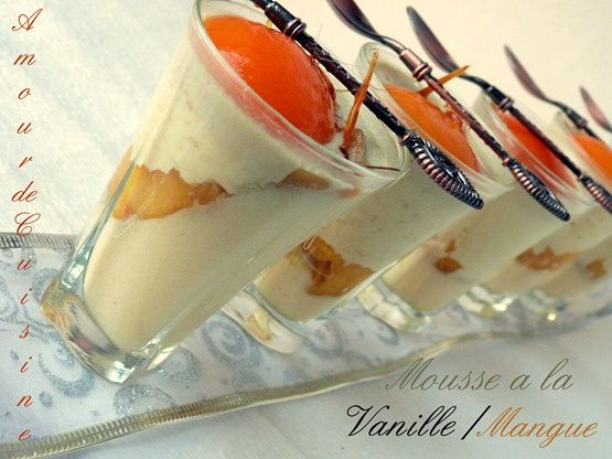 mousse vanille, mousse mangue