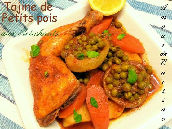 tajine de petits pois aux artichauts