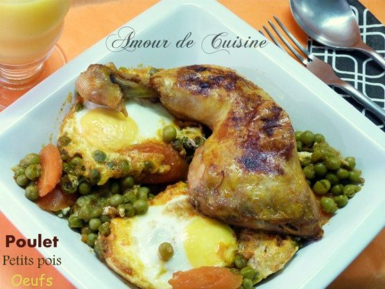 tajine de poulet aux petits pois et oeufs, cuisine algerienne