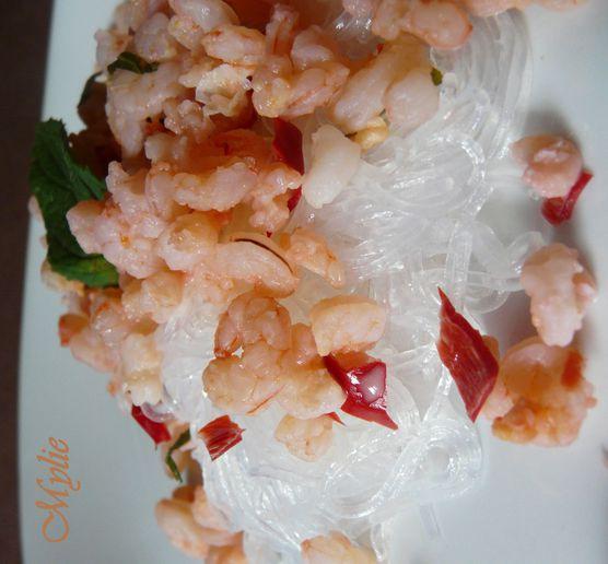 crevettes menthe et piment, vermicelles chinois 3