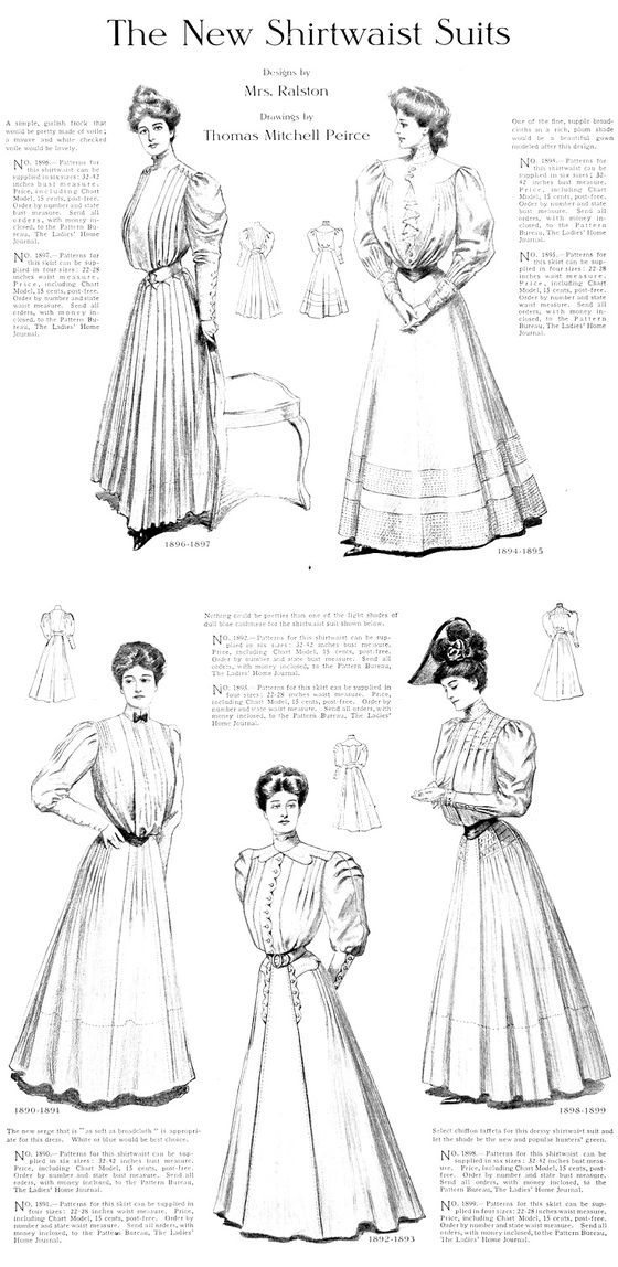 1905 Print Shirtwaist Suits Dress Skirt Ralston Gown