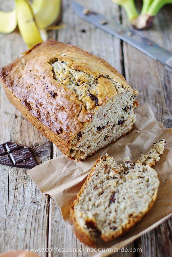 Banana bread (Cake aux bananes et pépites de chocolat) ave