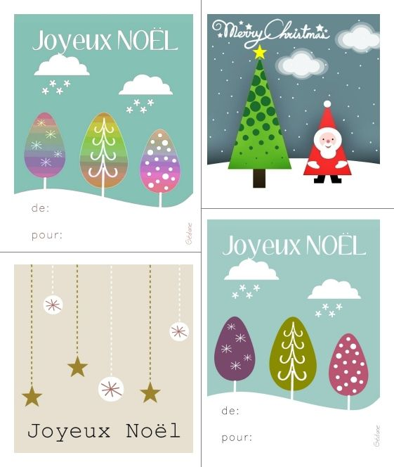 cartes tiquettes cadeau de noel imprimer happy diy le blog de g dane. Black Bedroom Furniture Sets. Home Design Ideas
