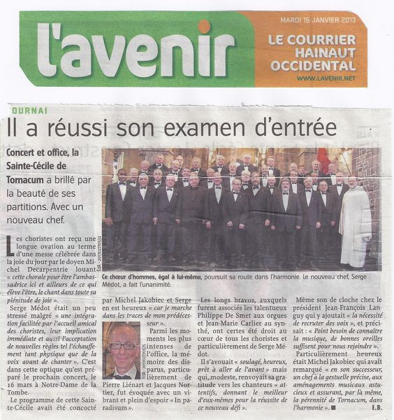 article ste cécilecourrier escaut 15 1 13