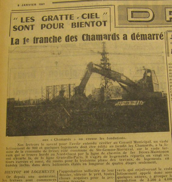chamards.Action janvier 1962. fondations