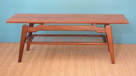 Table basse scandinave 1950 en teck coin canal for Table basse scandinave le bon coin