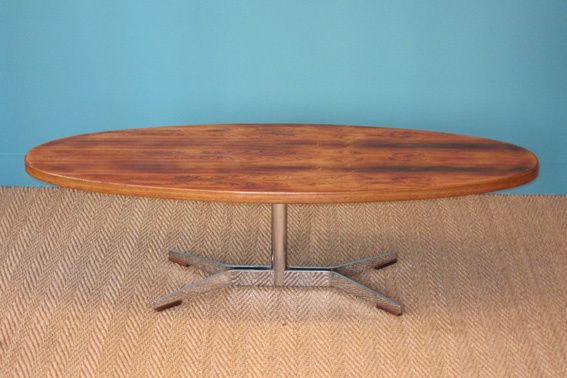 Table scandinave 1960 palissandre coin canal - Table basse ovale scandinave ...
