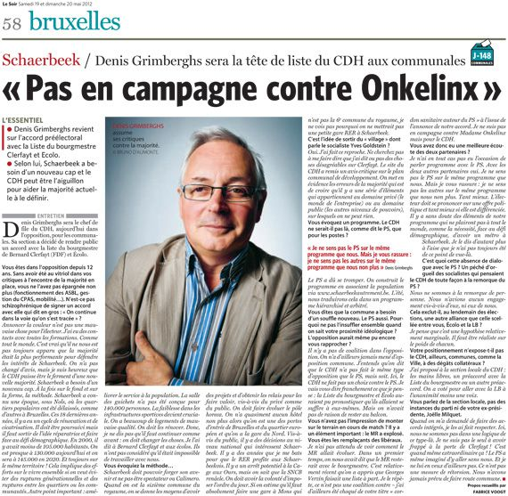 Interview de denis grimberghs dans le soir des 19 et 20 for Denis article de bureau