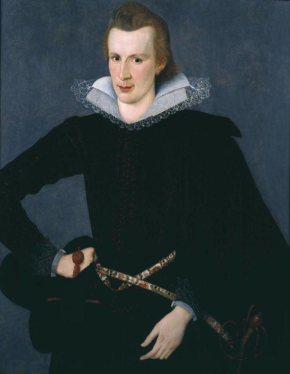 Sir William Segar Portrait d'homme au pourpoint noir