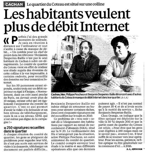 Article du Parisien du 09 02 013 - ADSL