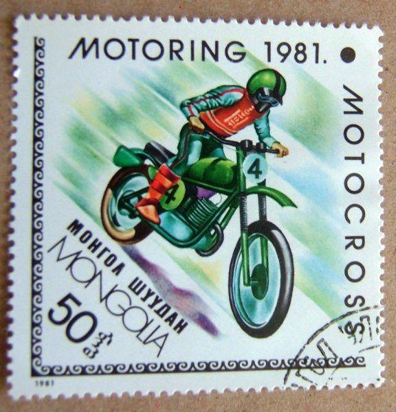 timbre poste motocross mongolia
