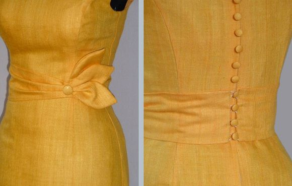 robe cocktail soie jaune d'or Dorothée 2