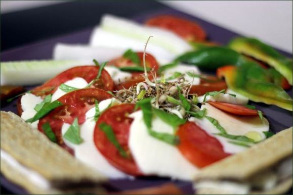 caprese avec aussi des germes de soja au ssame, des crackers au fromage, des btonnets de concombre et poivrons vegecarib1108