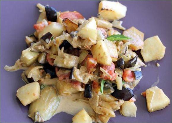 Christophine, aubergine et tomate en poêlée colorée vegecarib 983