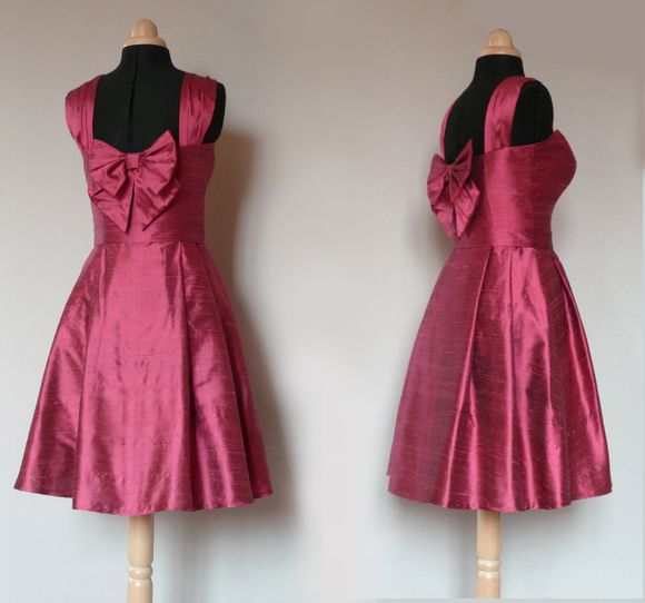 robe cocktail soie framboise Dorothée 2