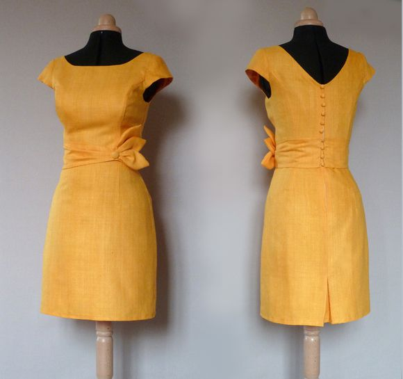 robe cocktail soie jaune d'or Dorothée 1