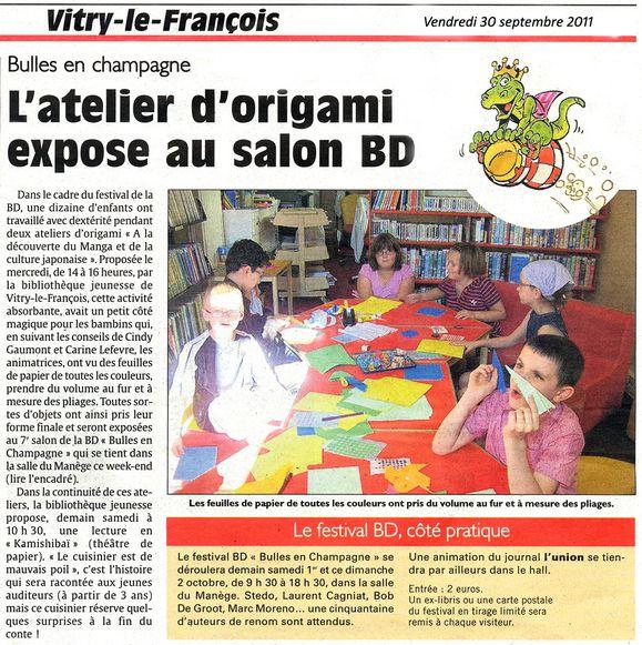 l 39 union 30 09 2011 l 39 atelier d 39 origami expose au salon bd festival bulles en champagne. Black Bedroom Furniture Sets. Home Design Ideas