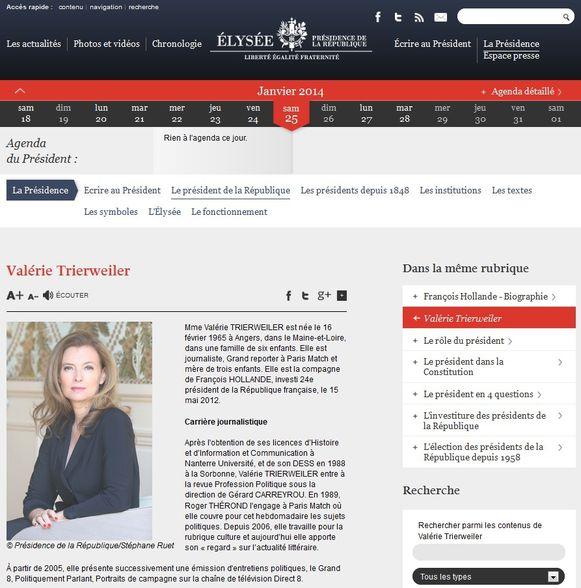 Valérie Trierweiler site interne Elysée