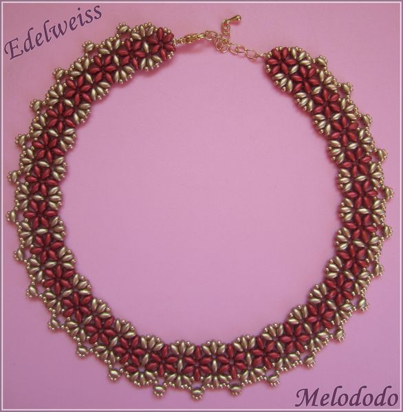Collier Edelweiss Gold et Red