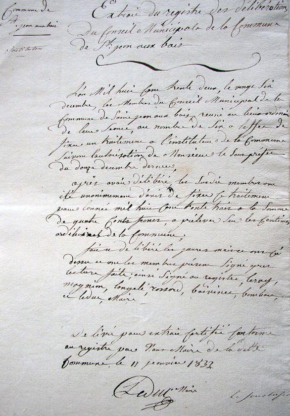 2 Copie délib. 26 août 1833
