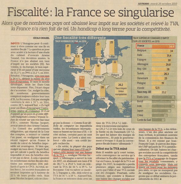 fiscalité - Figaro 26 oct 2010 2