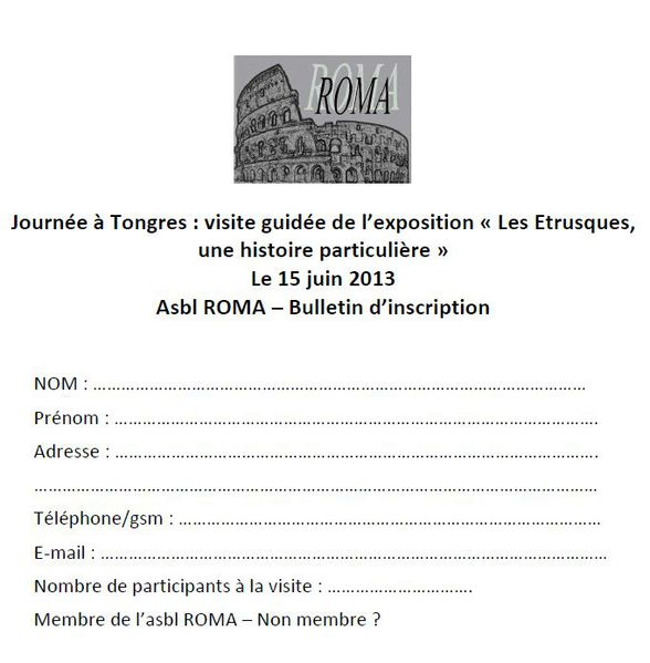 bulletin inscription Tongres Etrusques