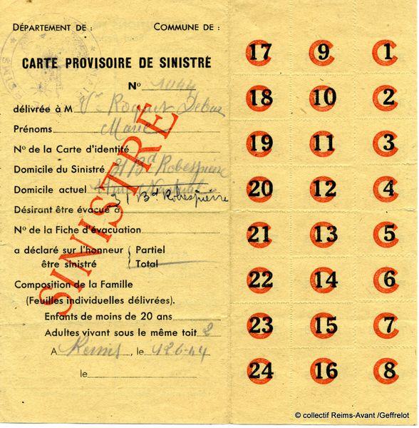 Carte Provisoire de Sinistré du 12 juin 1944 (recto)