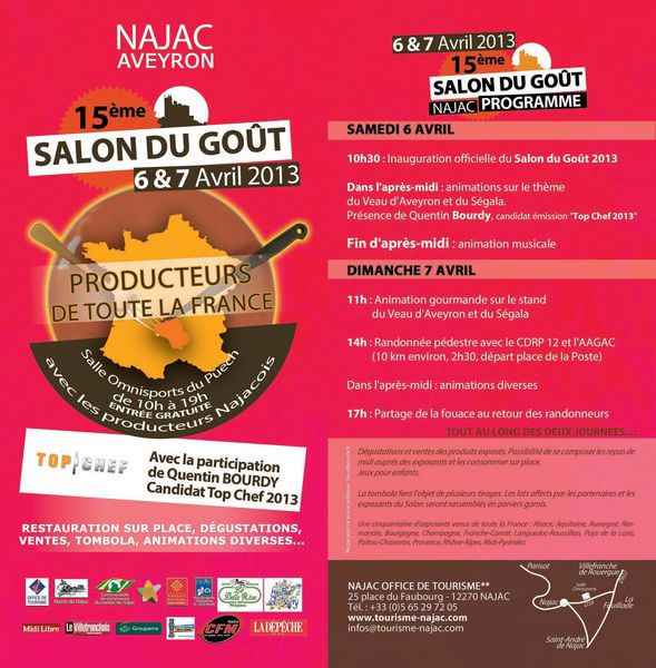 Najac Salon du Gout 2013 Flyer Top Chef Quentin Bourdy Avey