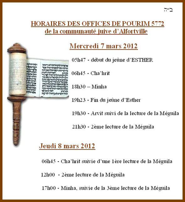 Pourim HORAIRES 5772