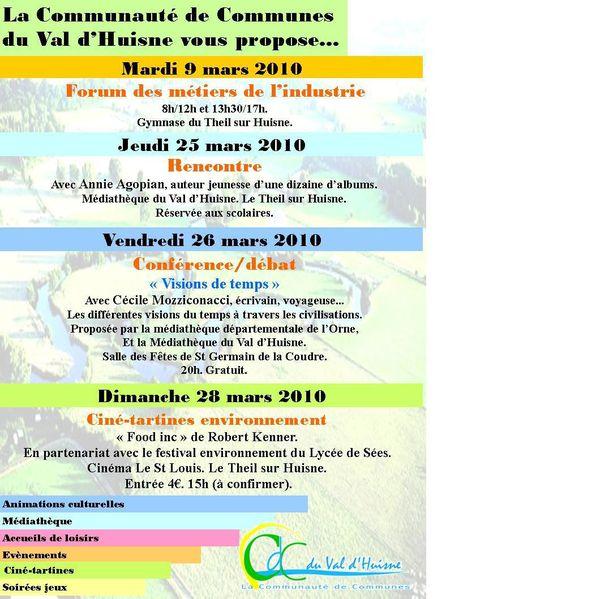 Cdc du Val d'Huisne : programmation de mars 2010