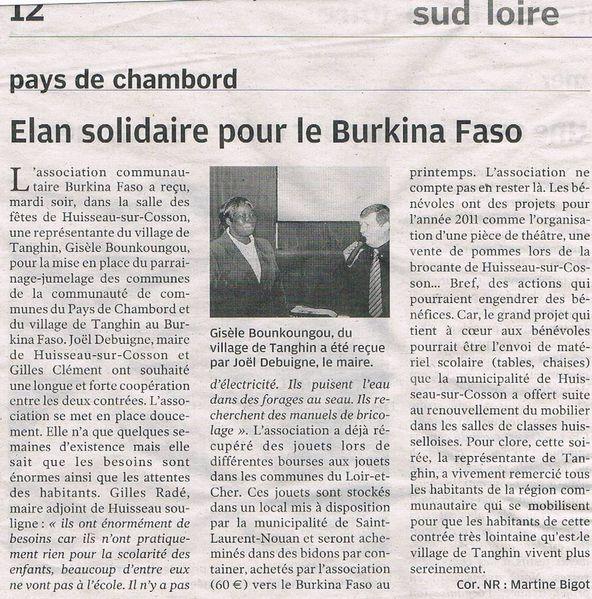 Réception de Mme Bonkoungou par la municipalité de huisse