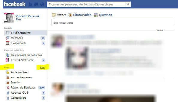 gerer liste d'amis facebook