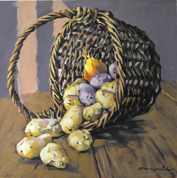 panier de pommes de terre 36x36 acrylique sur papier toil artiste peintre arnould. Black Bedroom Furniture Sets. Home Design Ideas